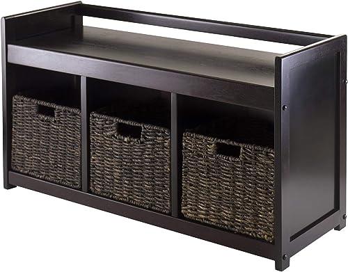 Winsome Addison 4-Piece Storage Bench with 3-Foldable Corn Husk Baskets