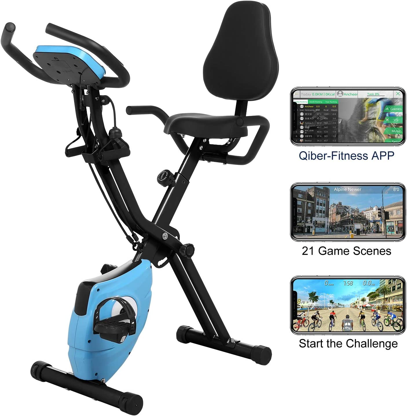 ANCHEER As Seen On TV Cycle 3-in-1 Stationary Bike – Folding Indoor Exercise Bike with APP and Heart Monitor – Perfect Home Exercise Machine for Cardio Blue