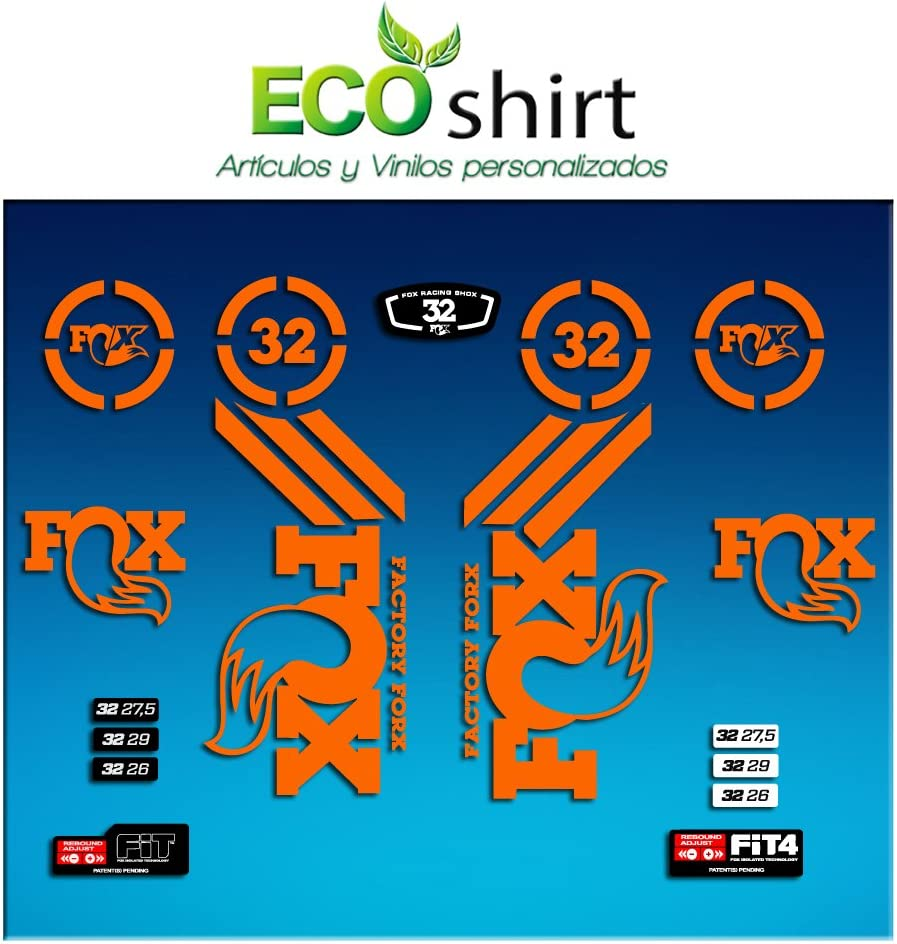 Orange Fluor Ecoshirt SU-51QB-C1MB Stickers Sticker Fork Fox 32 Am63 Aufkleber Decals Autocollants Adesivi Forcela Gabel Fourche