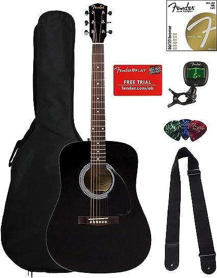 Fender FA-100 Dreadnought Guitarra Acústica Paquete con bolsa de ...