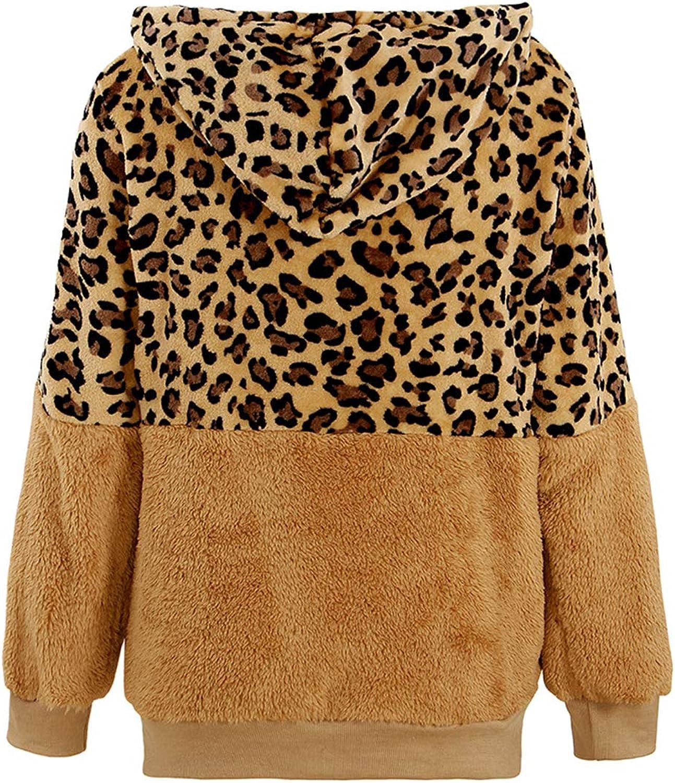 MXIU Veste à capuche pour femme avec fermeture éclair pour contrôle d'accès et coutures léopard 2020 printemps automne et hiver Marron