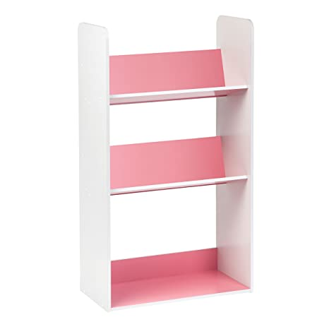 IRIS 3 Tier Tilted Shelf Book Rack, Pink And White