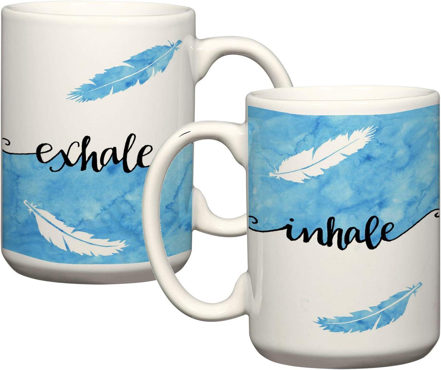Taza de café inspiradora Inhale Exhale, taza de café zen cita taza de café relajante regalo para profesores de yoga, meditación regalos Just Breathe
