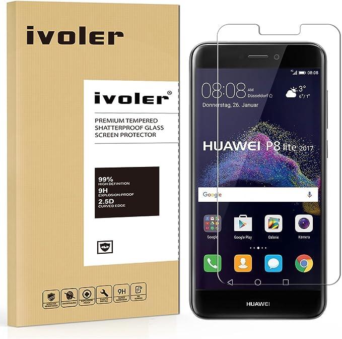 ivoler Protector de Pantalla para Huawei P8 Lite 2017, Cristal Vidrio Templado Premium: Amazon.es: Electrónica