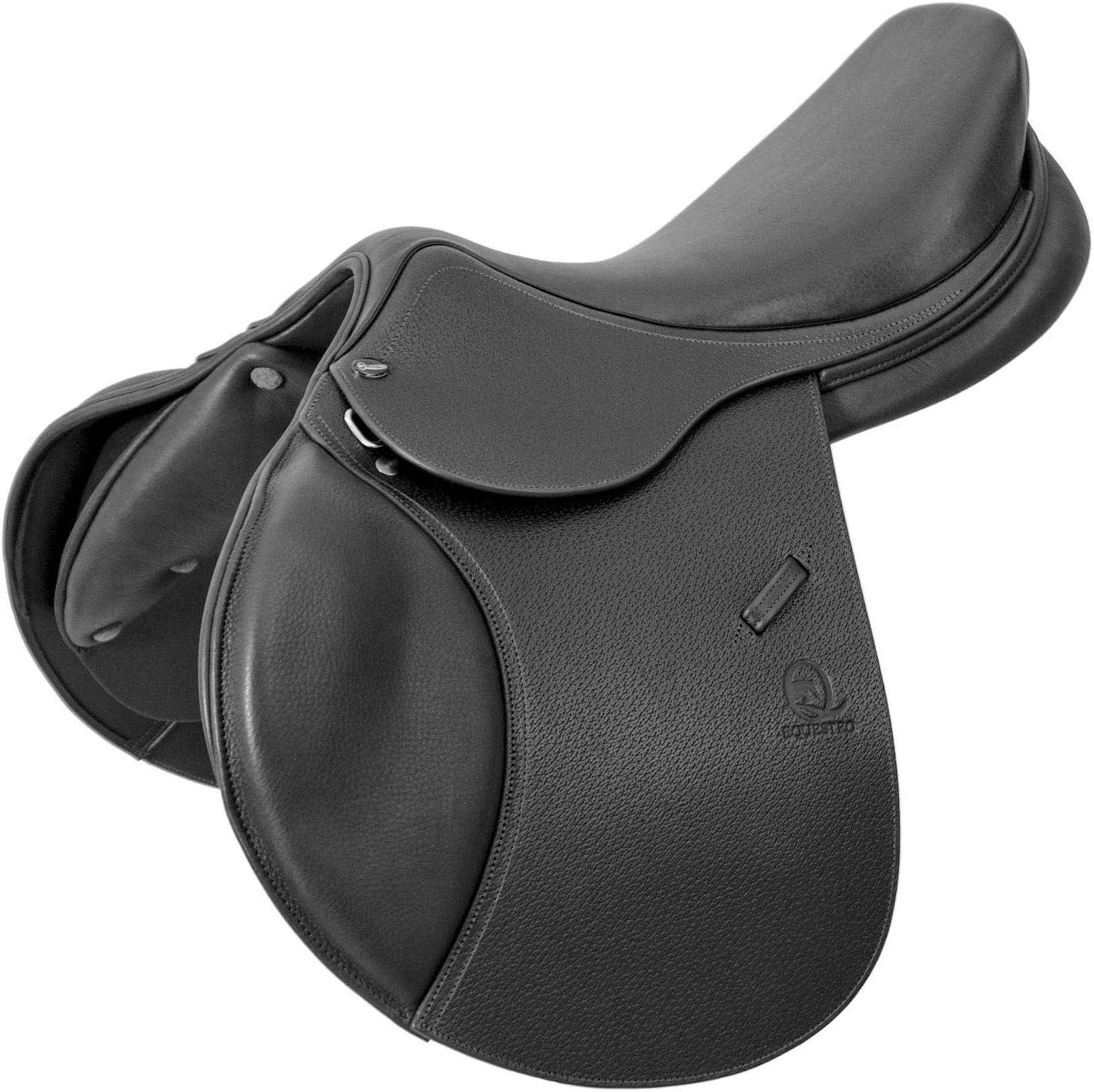 equestro sillín de salto cuero Francés con soportes Mod Platinum