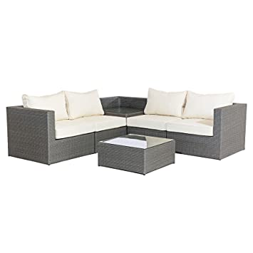 MMT Rattan Grey Garden Furniture L-Shaped Corner Sofa & drinks table set -  4 seater coffee table, corner table set - Cream cushions - FULLY ASSEMBLED  ...