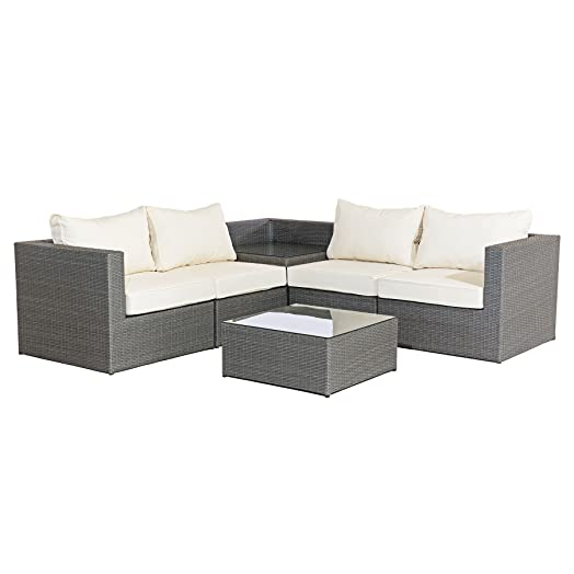 mmt rattan grey garden furniture l shaped corner sofa drinks table set 4