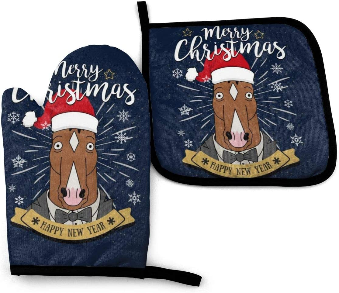 SDFDFGD Merry Christmas BoJack Horseman -Oven Mitts and Pot Holders Heat Resistant Kitchen Bake Gloves Cooking Gloves
