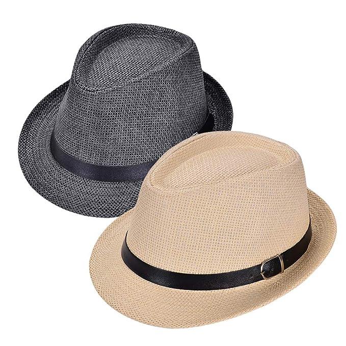 Amazon.com: Fedora Sombreros para Hombre, Paja Pajarita ...