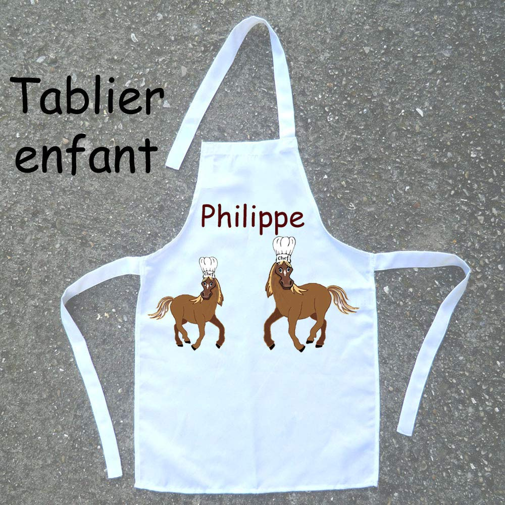 Tablier de cuisine enfant Cheval à personnaliser avec un Prénom (ex. Philippe)
