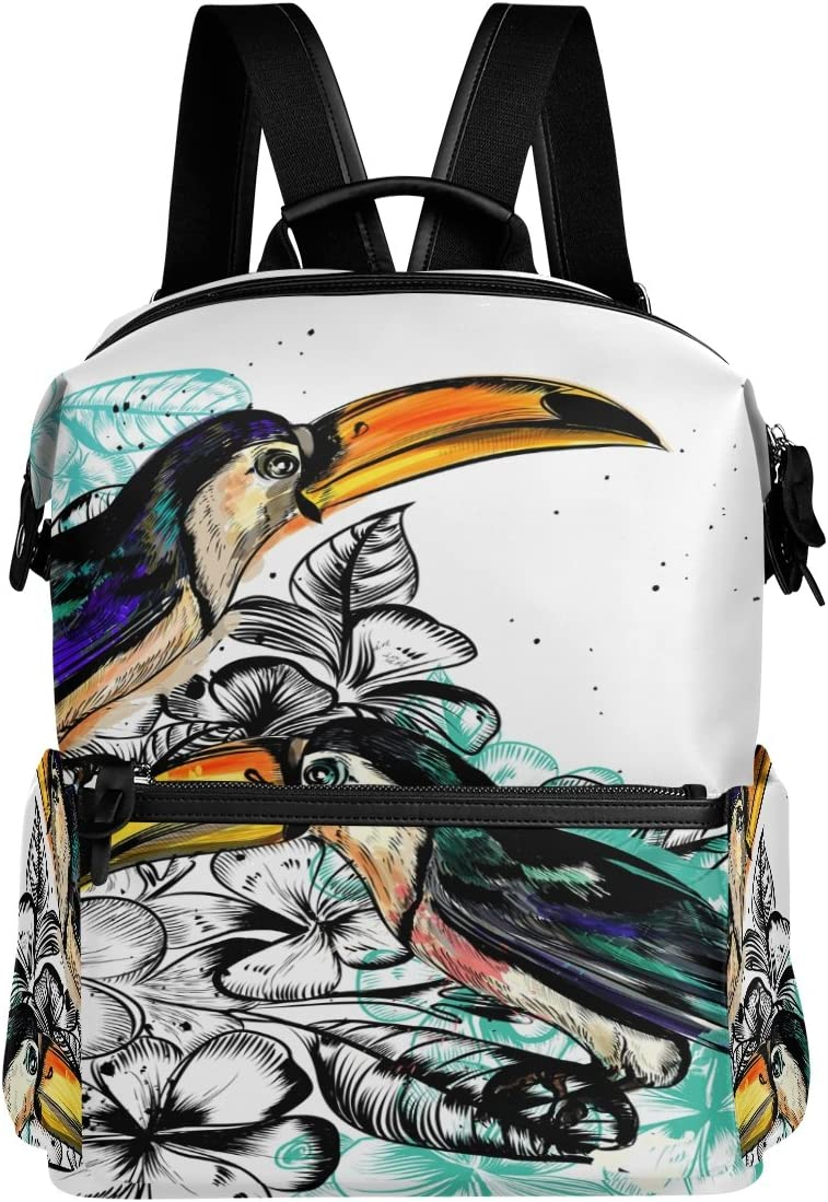 Laptop Backpack Lightweight Waterproof Travel Backpack Double Zipper Design with Hand-Painted Toucan School Bag Laptop Bookbag Daypack for Women Kids