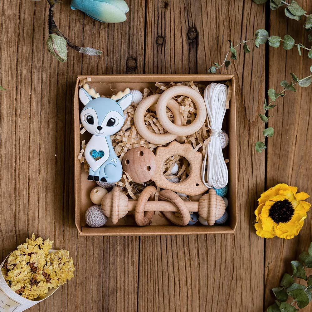 lets make Silikon Bei/ßkit Hirsch Anh/änger Bei/ßring H/ölzerne H/äkelperlen Handgemachte Halskette Armband Zubeh/ör Neugeborene Mutter Geschenk