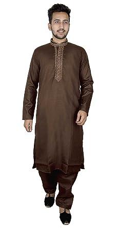 63f08b7d9e Amazon.com: Mens Indian soft Cotton Brown kurta matching Salwar kameez  pajama Bollywood 819: Clothing
