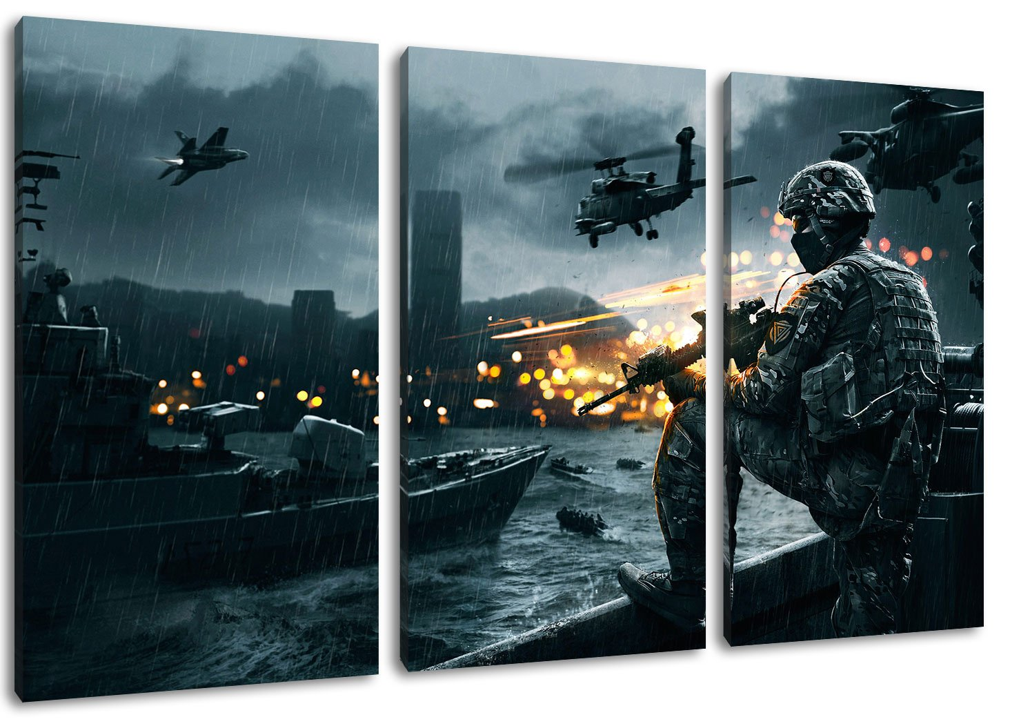 Amazon.de: battlefield 4 3-teilig auf Leinwand- Gesamtformat: 120x80 ...