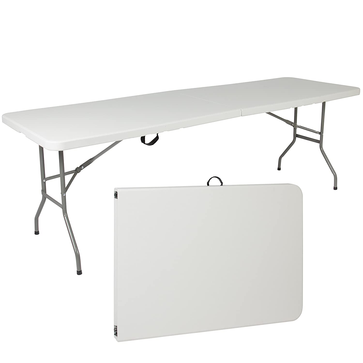 Amazon.com : Best Choice Products 8ft Folding Portable Plastic Table For  Indoor, Outdoor, Picnic, Party W/ Handle U0026 Lock   White : Garden U0026 Outdoor
