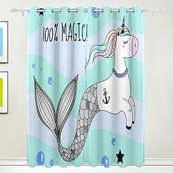 U LIFE Sea Ocean Unicorn Mermaid Patchwork Window Curtains Grommet Curtain For Living Room Bedroom Per
