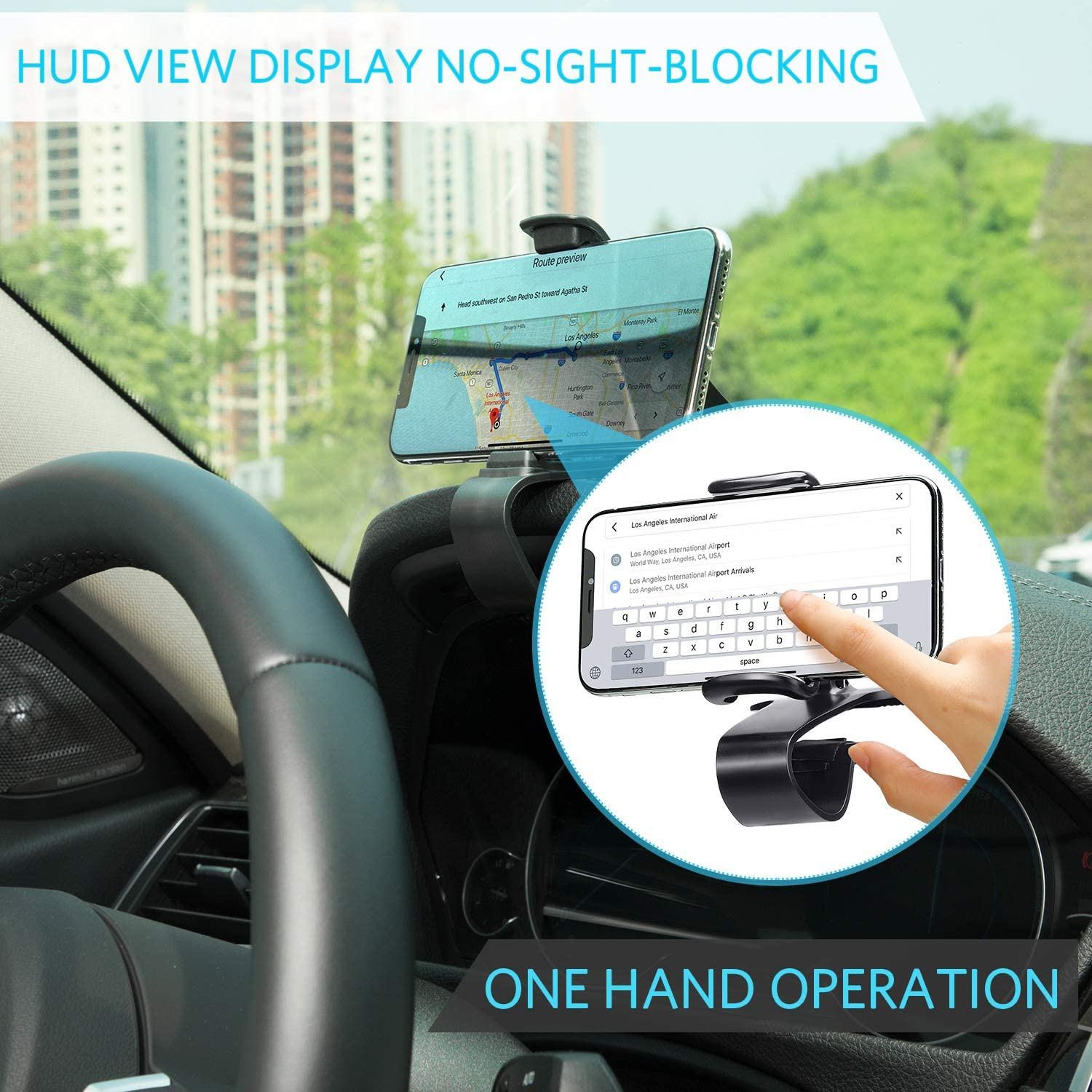 Style 1, Adjustable Mobile Clip Car Phone Holder Cell Phone Holder for Car Dashboard Cell Phone Holder Dashboard Mount Car Phone Holder Compatible with Smartphones iPhone Samsung