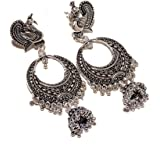 Jewar Mandi White Silver Plated Jhumka Earrings for Women