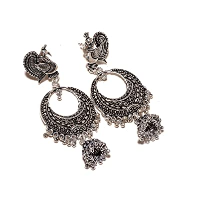 7ba9c4b88 Image Unavailable. Image not available for. Colour: Jewar Mandi White Silver  Plated Jhumka ...