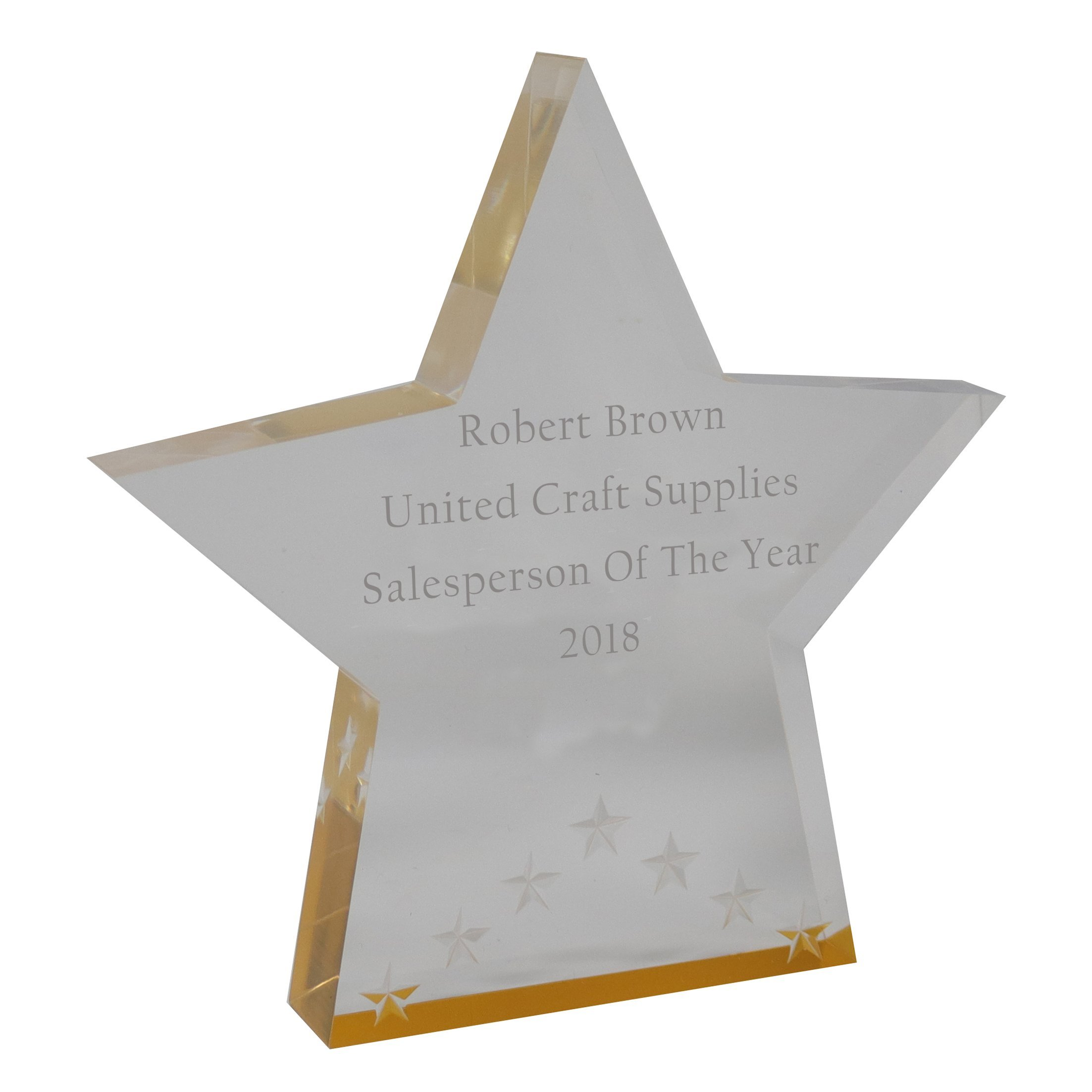 United Craft Supplies Personalized Trophy Award Plaque for Winner, Achievement at Work or School (Star, Gold)