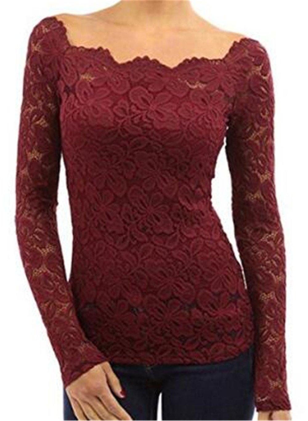 Aivosen Mujeres Palabra Collar Blusas De Encaje Flores Lace Crochet Camisas Camisetas Manga Larga T Shirt Sexy Tops: Amazon.es: Ropa y accesorios