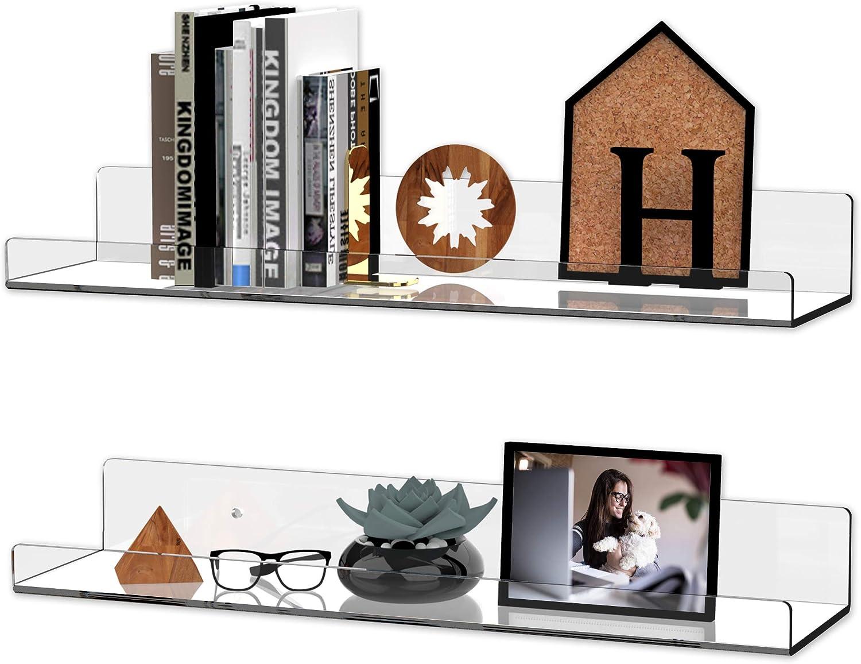 "4pcs Clear Acrylic Floating Wall Ledge Shelf Display Bookshelf Shelves, 15"" Floating Shelves Wall Mounted Invisible Bathroom Storage Shelves Set Acrylic Bookshelf for Bedroom Office Toy Picture Ledge"