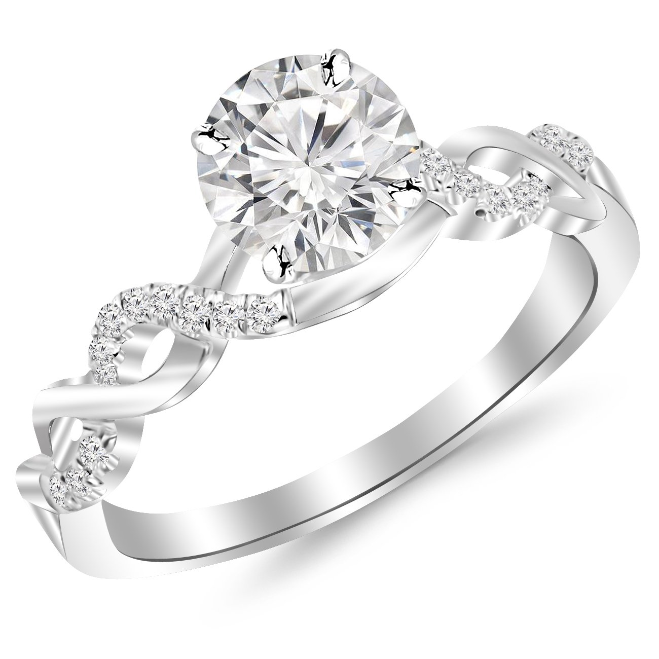 2 Carat Classic Prong Set Diamond Engagement Ring 14K White Gold with a 1.5 Carat J-K I2 Center by Houston Diamond District