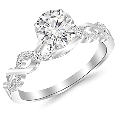 0e1fed552c668 0.63 Carat Twisting Infinity Gold and Diamond Split Shank Pave Set Diamond  Engagement Ring 14K White Gold with a 0.5 Carat Round Cut Moissanite ...