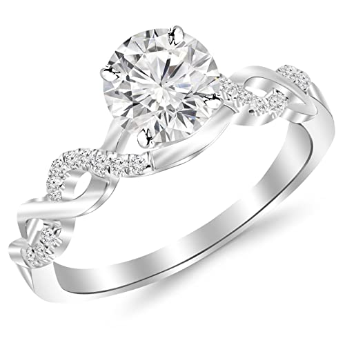 1.13 Carat Twisting Infinity Gold And Diamond Split Shank Pave Set Diamond Engagement Ring With A 1 Carat J-K I2 Center