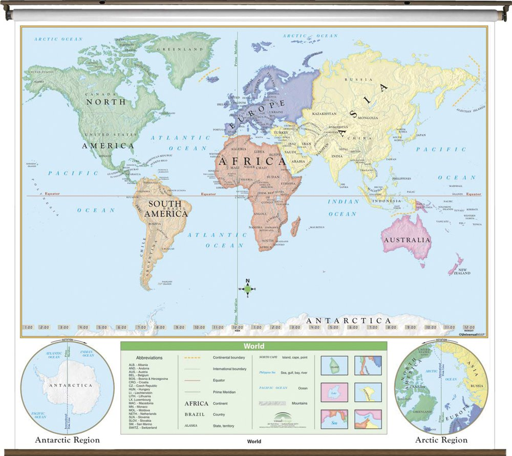 World Beginner Wall Map Roller - K-1st grade - 64x54 - Laminated - Identifies continents and oceans - Markable with dry erase or water soluble marker. (Beginner Classroom Wall Maps)