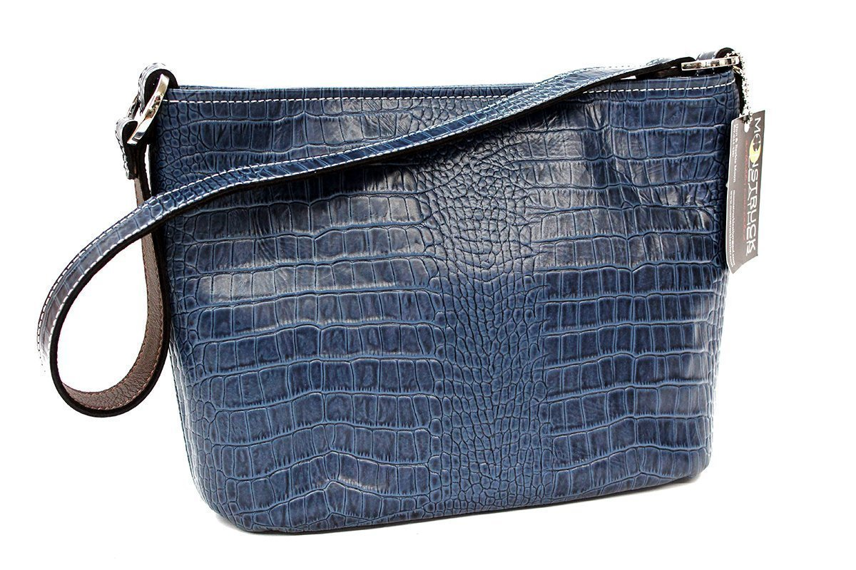 MoonStruck Leather Concealed Carry Purse - CCW Handbags Barcelona Indigo Blue Crocodile - Made in the USA - Classic