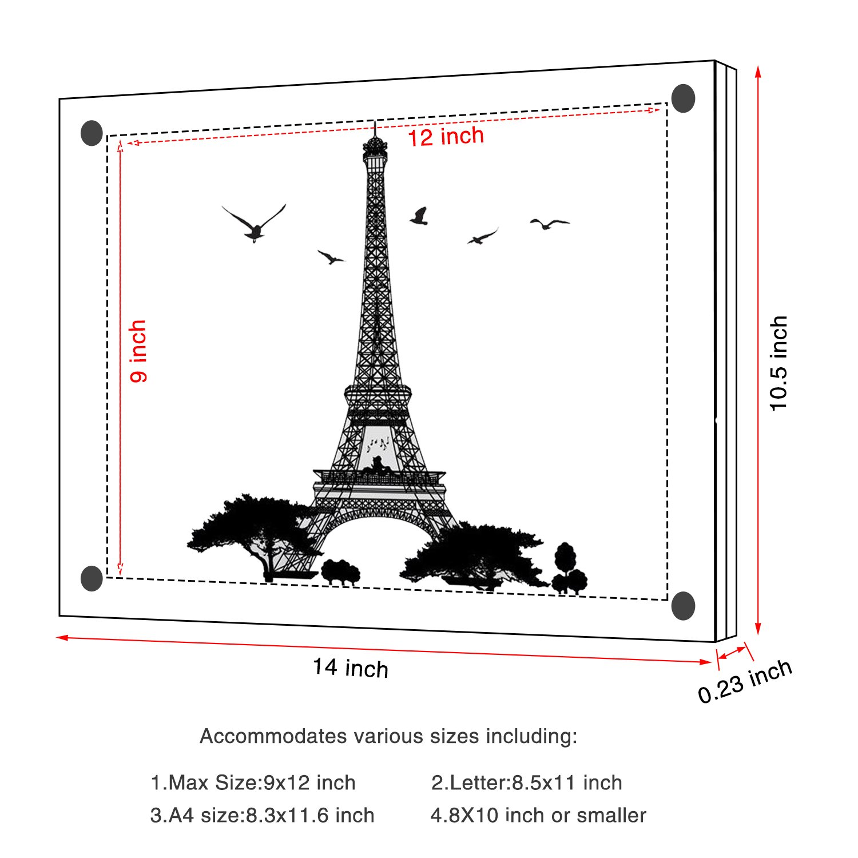 Amazon.de: Acryl Bilderrahmen, Doppelte Panel Clear Wandhalter ...