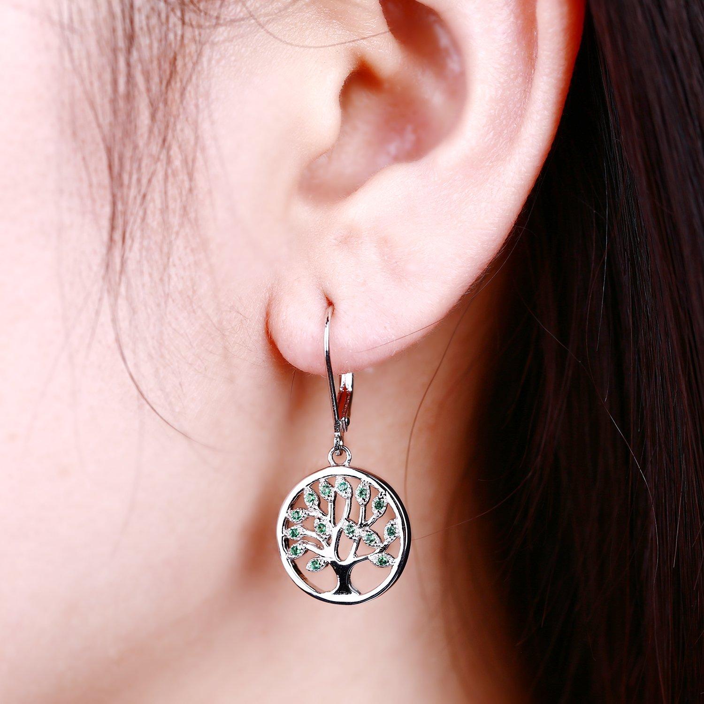 JO WISDOM Tree of Life Earrings,925 Sterling Silver Family Tree Drop Leverback Earrings,Jewellery for Women