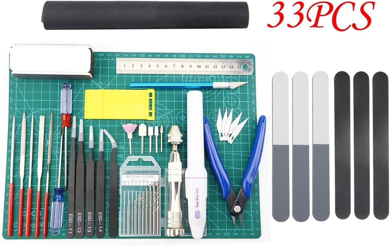 BXQINLENX Professional 33 PCS Gundam Model Tools Kit Modeler Basic Tools Craft Set Hobby Building Tools Kit for Gundam Car Model Building Repairing and Fixing(J)