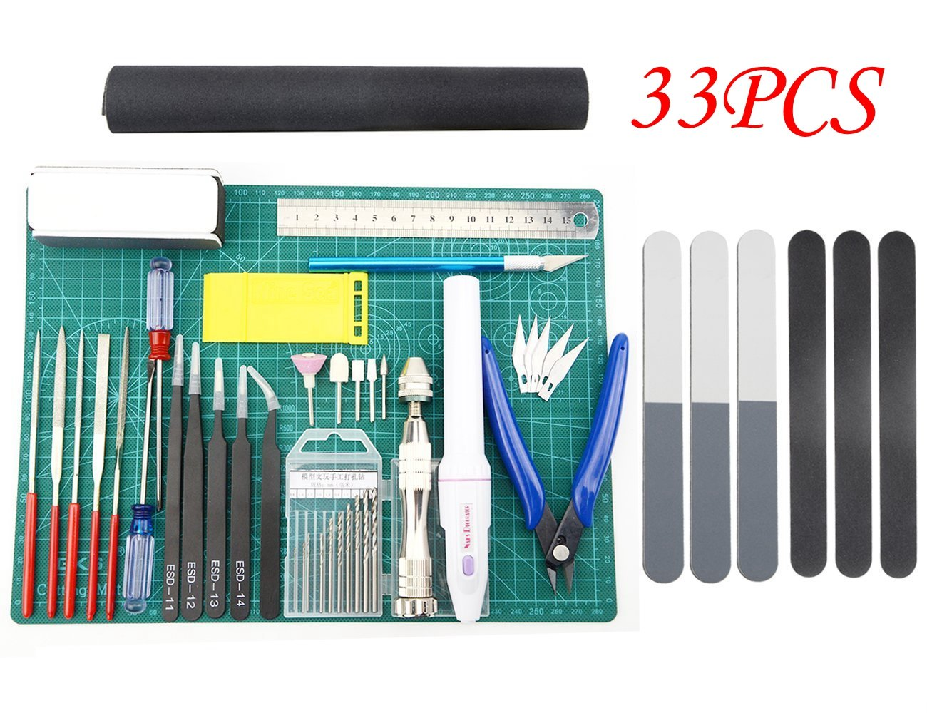 BXQINLENX Professional 33 PCS Gundam Modeler Basic Tools Craft Set for Car Airplane Building Model Assemble Building(J)
