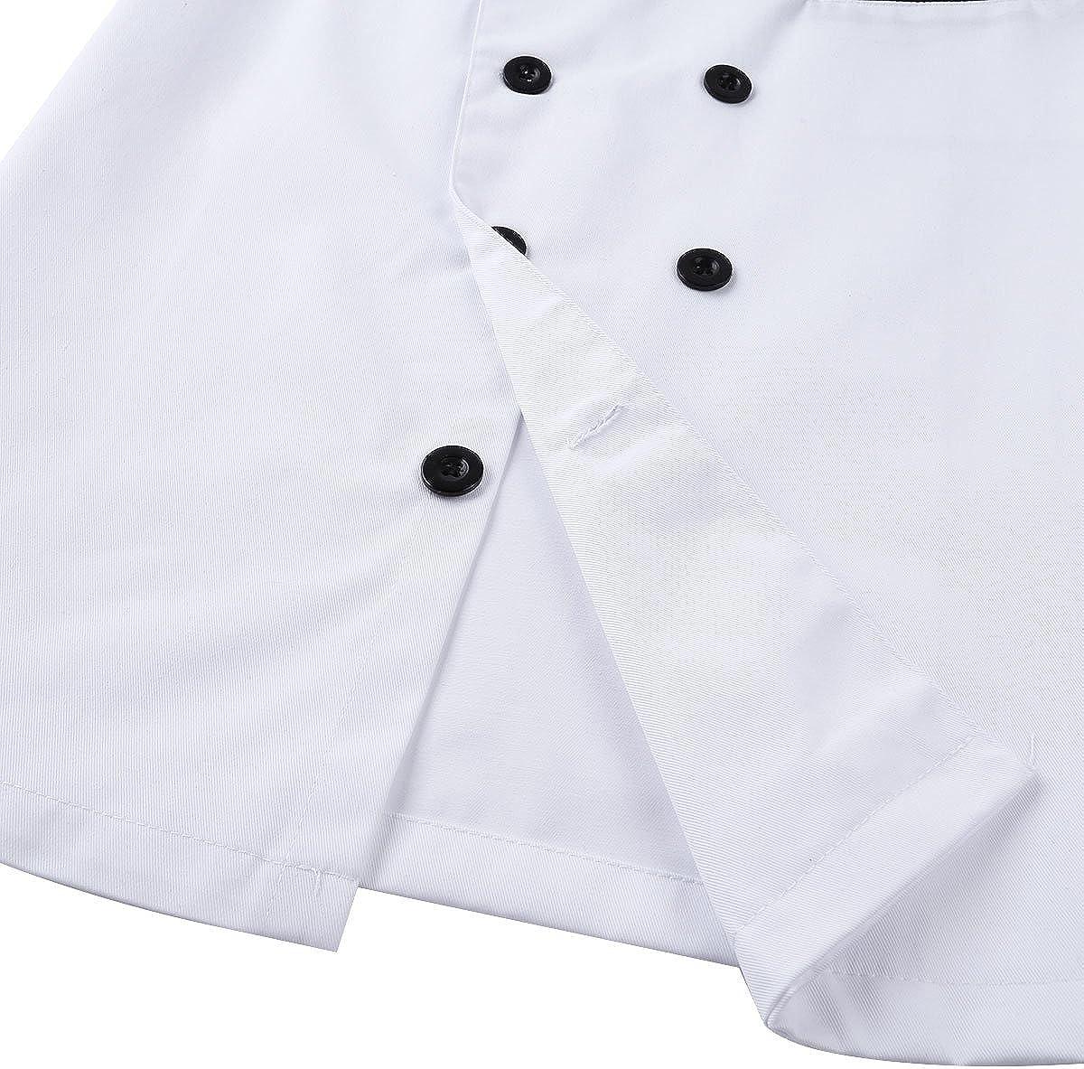 Freebily Unisex Giacca da Cuoco Manica Corta Taglie Forti Casacca da Cucina Cotone Camicia da Pizzeria Ristorante Forno Pizzetteria Giacca da Chef Uomo Bianca//Nera M-XXXL