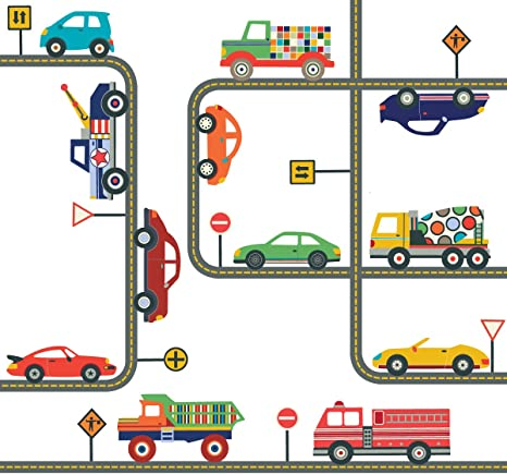 Removable and Reusable Fabric Eco-friendly Wall Stickers Wall Decals Construction Site Trucks /& Construction Vehicles