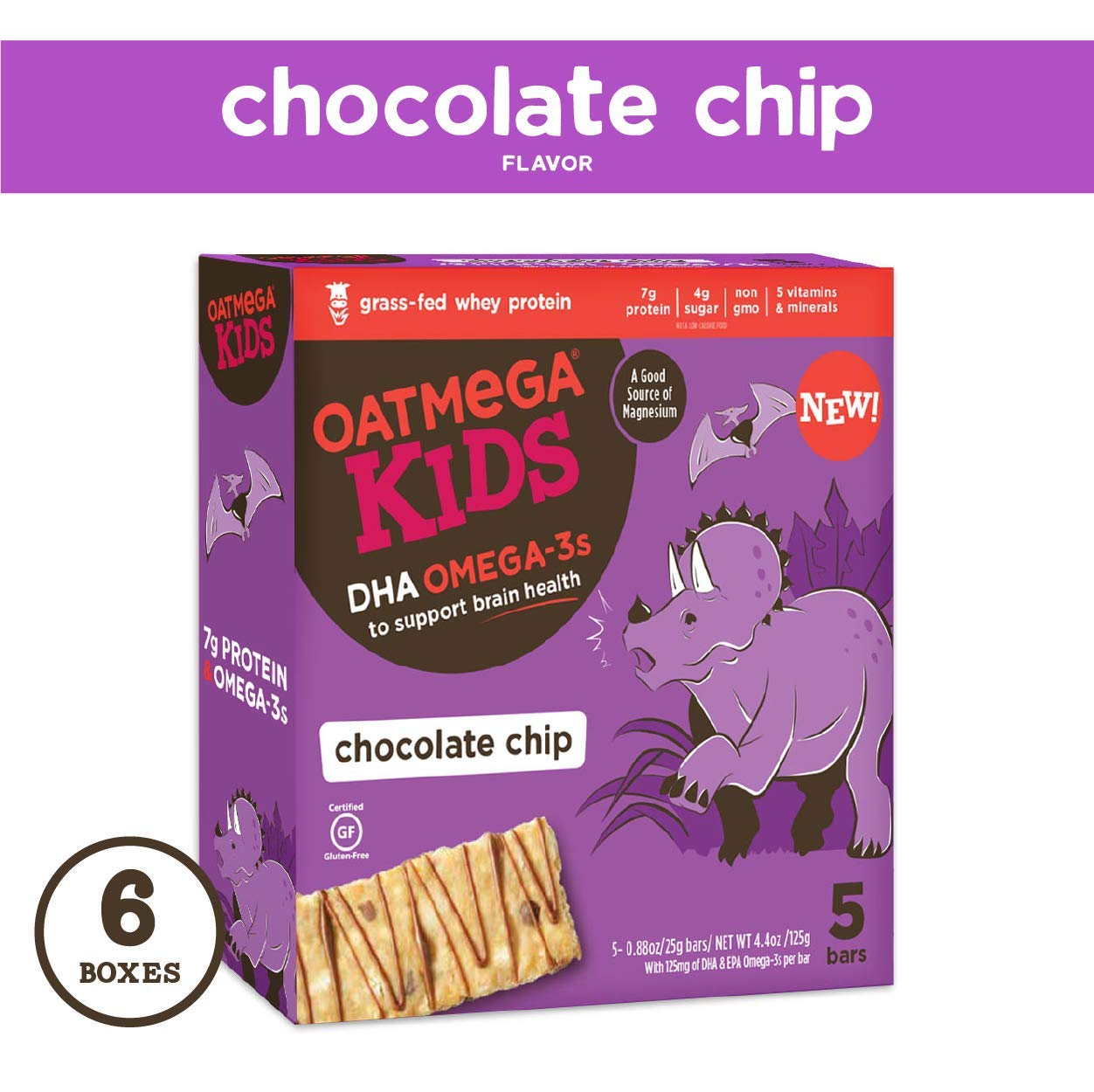 Oatmega Kids Protein Bars, Healthy Snack with Omega 3, Chocolate Chip, 6 Boxes of 5 Bars