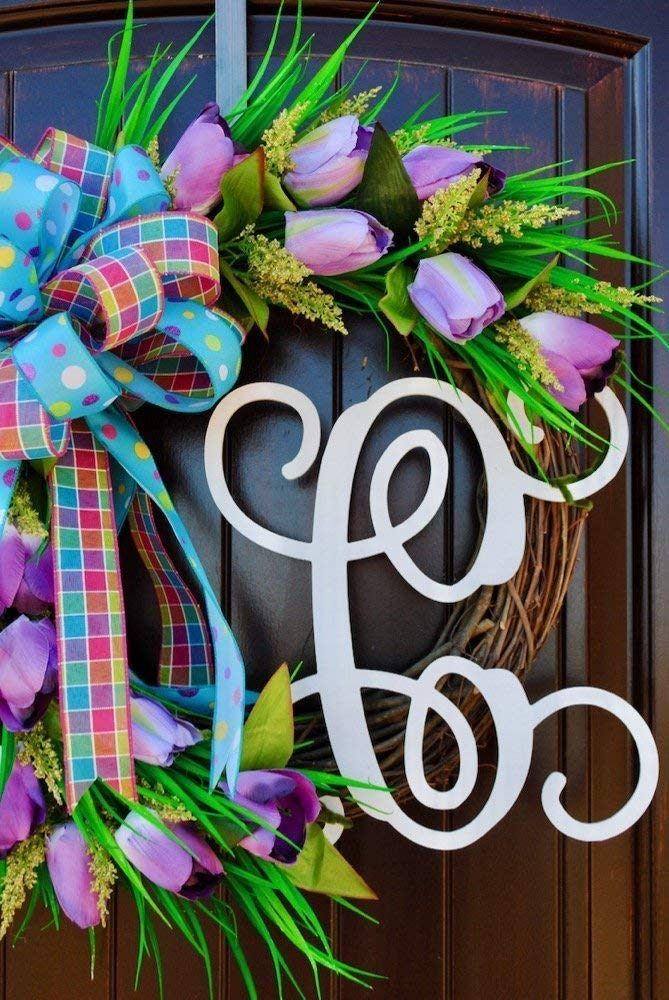 Summer Tulip Monogram Front Door Wreath with Monogram Option~Lavender polka dot bow~Light lavender Tulips