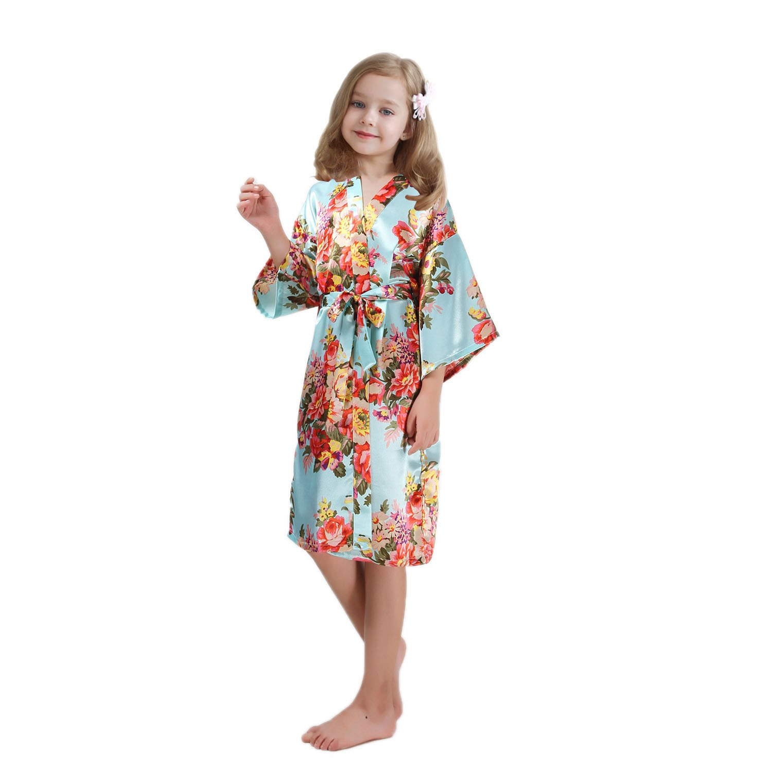 FCTREE Girls' Satin Kimono Robe Girls' Nightgown For Spa Party Wedding Birthday (10-11 Years, Light Blue)