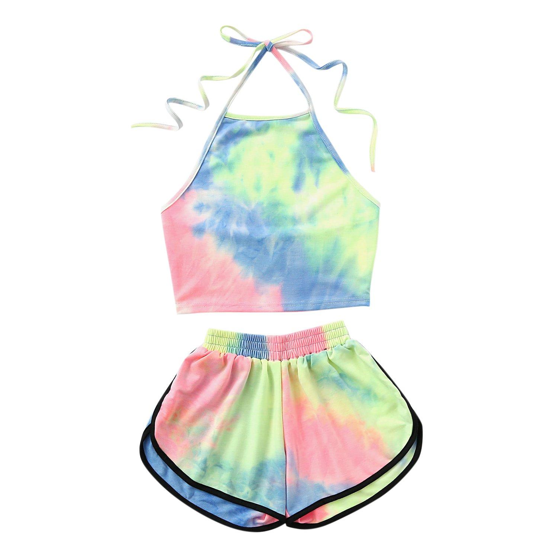Misscat Women Tie-dye 2 Piece Outfit HalterHigh Neck Casual Crop Top Shorts Set