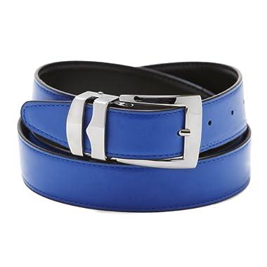 Reversible Belt Bonded Leather Removable Silver-Tone Buckle ROYAL BLUE/Black