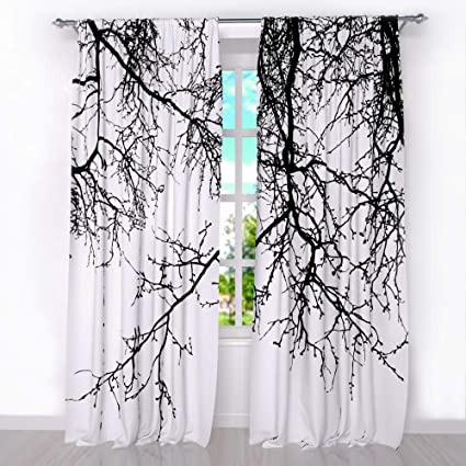 Factory4me Black White Curtains Black Branches. Window Treatment Curtain  Panel (Set of 2) Bedroom Kitchen Living Room. W104 x L96 Polyester