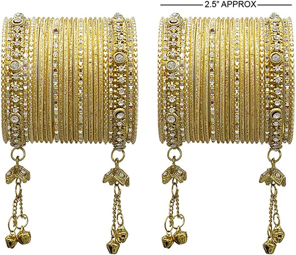 MUCH-MORE Ghungroo Style Latkan Punjabi Metal Bangles for Karva Chauth /& Wedding Wear for Women /& Girls