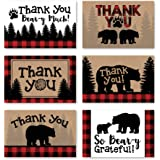 24 Bear Lumberjack Thank You Cards With Envelopes, Kids or Baby Shower Thank You Note, Rustic Zoo Animal 4x6 Varied…