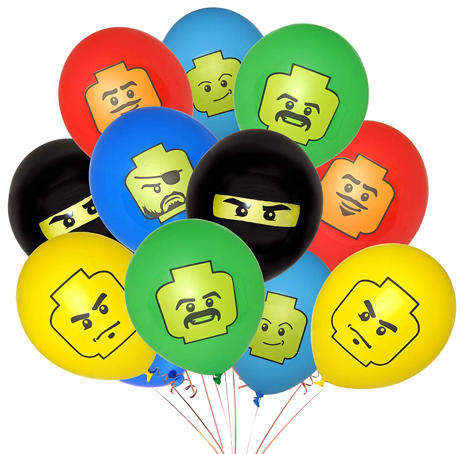 Giant Set of Double-Sided Brick-Theme Birthday Balloons (24-Pack) - 2019 Edition - 12-Inch Party Balloons - Birthday Party Supplies Great for Themed ...