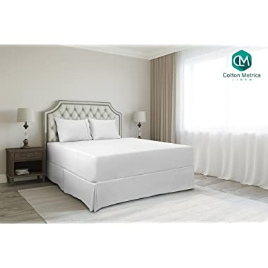 Cotton Metrics Linen Present 800TC Hotel Quality 100% Egyptian Cotton Bed Skirt 21  Drop Length Queen Size White Solid
