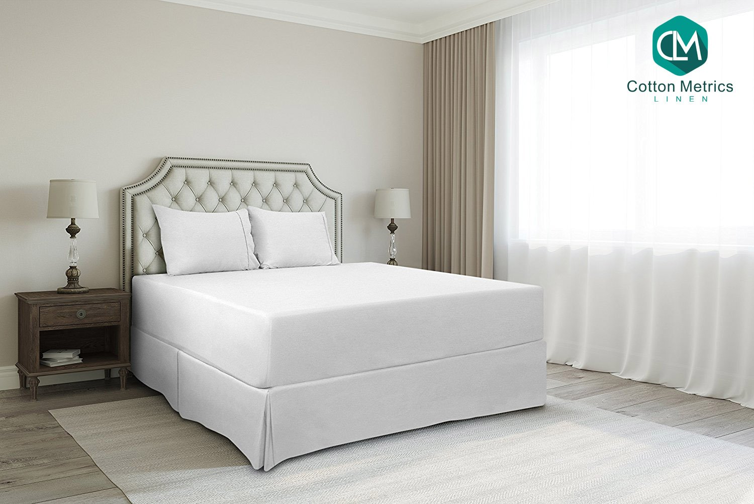 Cotton Metrics Linen Present 800TC Hotel Quality 100% Egyptian Cotton Bed Skirt 18'' Drop length Twin Size White Solid
