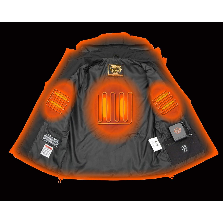 Milwaukee Leather-Mens Soft Shell Heated Zipper Front Jacket w//Detachable Hood-BLACK-5X