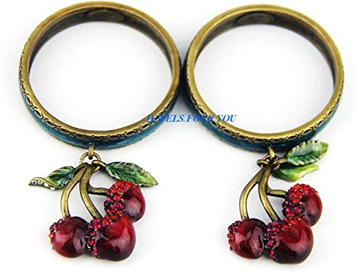 12  Red Enameled  Cherries  Napkin  Rings  NEW
